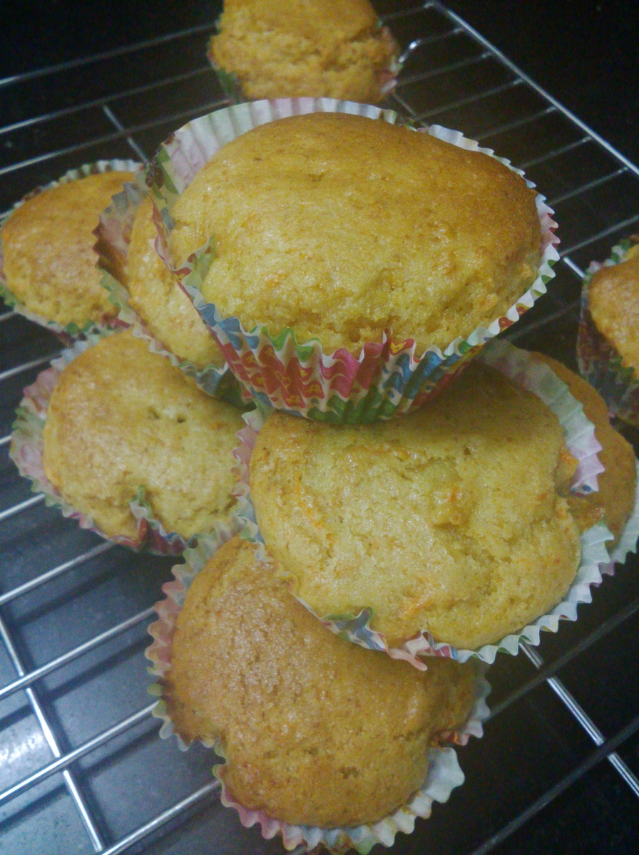 Whole wheat flour and carrot muffins